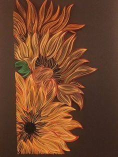 Excited to share the latest addition to my shop: Bouquet of Sunflowers - Quilling Wall Art - Painting with paper strips Arte Quilling, Paper Quilling Patterns, Quilled Paper Art, Quilling Paper Craft, Quilling Flowers, Quilling Ideas, Cut Paper Art, Paper Wall Art, Origami Flowers