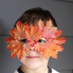 Create this fabulous seasonal dress up mask from a few simple items and a handful of beautiful fall leaves.