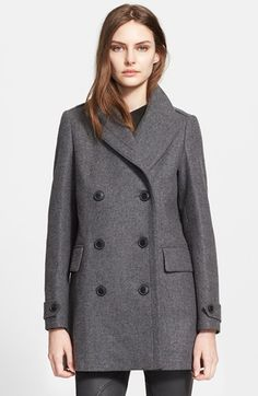 Burberry+Brit+'Stockcliffe'+Wool+Blend+Peacoat+available+at+#Nordstrom