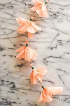 string of paper flowers.