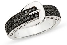 Black diamond belt buckle ring. Sleek & playful!