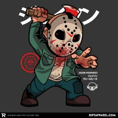 Jason Voorhees T-Shirt by Arly Pescuela aka mankeeboi. Show everyone that you are a fan of Jason Voorhees with this t-shirt. Horror Cartoon, Dope Cartoon Art, Dope Cartoons, Horror Icons, Horror Comics, Cartoon Pics, Halloween Kunst, Halloween Artwork, Halloween Horror