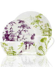 Scalamandre by Lenox, Toile Tale Chartreuse