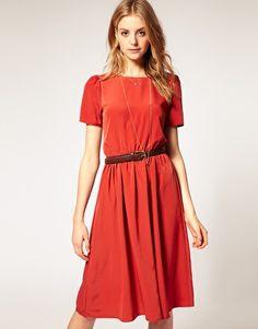 asos soft skirt midi dress w/ short sleeves (rust, pink, or blue) $58.17