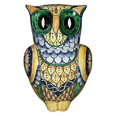 CERAMICHE DARTE PARRINI  Italian Ceramic Art Pottery Big Owl Cookies Jar Animals Hand Painted Decorated Deruta Made in ITALY Tuscan -- Click the VISIT button for detailed artisan description