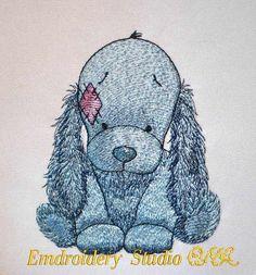 Embroidery design dog Spaniel  Bixie  of от embroiderystudioONA