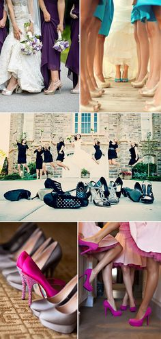 creative wedding shoes photo ideas with bridesmaids