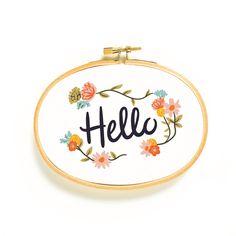 Oval Hello Art Hoop by littlelow on Etsy https://www.etsy.com/listing/221090190/oval-hello-art-hoop