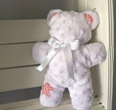 """Teddy Bears For Sale~ Handmade~ Tiny Teddy Bear~ Upcycled~  Mini Teddy Bears~ White, Pink, Minky, 9"""" Bear~ Sensory Toys by LittlebCottonShoppe on Etsy"""
