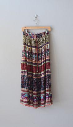 vintage 1970s skirt / gauze maxi skirt / Summer Festival skirt