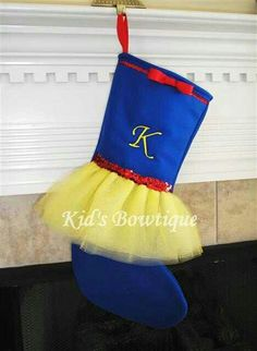 Disney Princess Snow White Inspired Christmas Tutu Stocking - Unique Personalized Stocking - Monogrammed Christmas Stocking Seriously cannot get over how much I love this! Cute Christmas Stockings, Christmas Tutu, Christmas Sewing, Babies First Christmas, Disney Christmas, Christmas Holidays, Christmas Decorations, White Christmas, Disney Diy