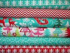 FUNKY CHRISTMAS Santa Yule Trees Critters, Nordic Swirls, Chevron Stripes