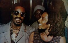 Stevie Wonder and Bob Marley together at the Wonder Dream Benefit Concert in Kingston, Jamaica, 1975