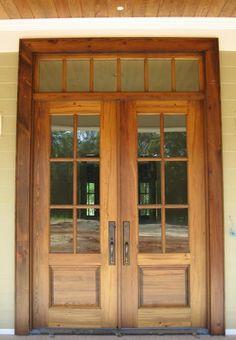 Craftsman Exterior Wood Entry Door need solid wood doors though Craftsman Door, Craftsman Exterior, Craftsman Style, Wood Entry Doors, Door Entry, Entryway, Double Doors Exterior, Wood French Doors Exterior, House Doors