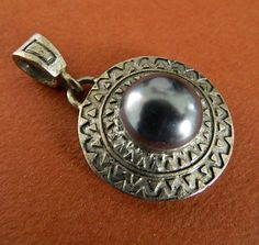 Vintage  silver  tone  pendant with grey  faux pearl. | BellaWorxJewelry - Jewelry on ArtFire