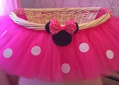 Large Hot Pink Minnie Mouse Theme Tutu Basket, Birthday Tutu Gift Basket, Baby Shower Basket, Tutu Easter Basket, Newborn Photo Prop Basket on Etsy, $48.00