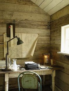 liking the reclaimed wood walls and rustic vintage feel...a good look for a lake workspace