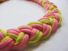 Braid Yellow  Pink Necklace/ Statement por PourAngelique en Etsy, $34,00