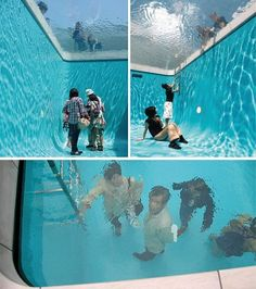 This is the swimming pool art installation in 21st Century Museum of Art, at Kanazawa Japan by artist Leandro Erlich.The top surface is filled with 4 to 5 inches of water that looks like a realistic pool. The people underneath the swimming pool can actually look above with realistic water effect on top of it.    A layer of water only some 10 centimeters deep is suspended over transparent glass. Below the glass is an empty space with aquamarine walls that viewers can enter.