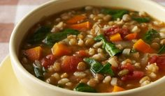 Barley and Lentil Soup- Lentils add a filling, lean protein to this tasty soup Vegetarian Recipes Easy, Diet Recipes, Healthy Recipes, Freezer Recipes, Recipies, Pressure Cooker Lentils, Healthy Cooking, Healthy Eating, Lentil Soup Recipes