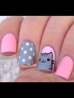 Imagen vía We Heart It https://weheartit.com/entry/165987710 #adorable #cat #cute #dots #grey #heart #kitty #love #nailpolish #nails #pink #polkadots #white #notmine #kittykitty #nailpolishdesign #nailpolishdesigns