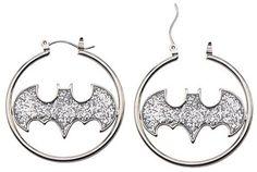 Logo Women's DC Comics® Batman Logo Stainless Steel Glitter Hoop Earrings - Silver
