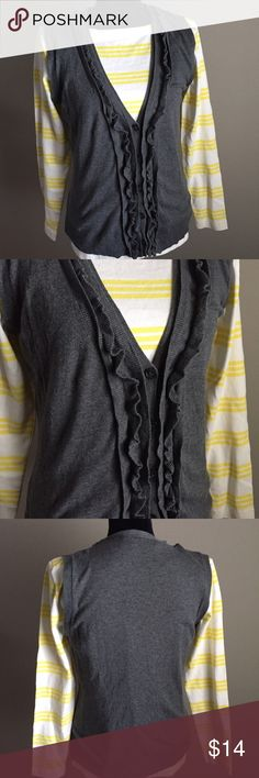 Sweater Vest The Limited Wonderful gray sweater vest with Ruffle detail. Great condition. No trades. The Limited Sweaters