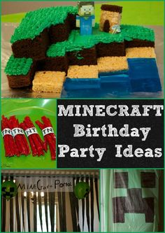 Minecraft Birthday Party Ideas. Minecraft Cake, Minecraft Food, Minecraft Decorations and more.  These minecraft partyideas are easy and very inexpensive.:
