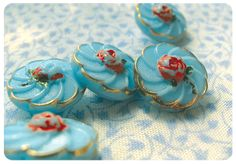 aquamarine glass buttons with tiny roses - how do I love thee, let me count the ways...