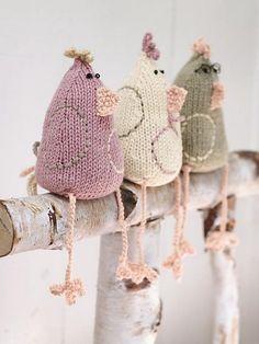 knit chicken soft sculptures