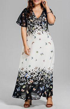 Photo Gallery - Plus Size Butterfly Print Long Beach Dress 499b58ef9
