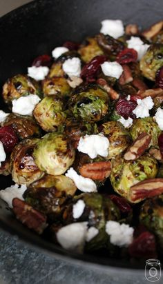 Brussels Sprouts with Walnuts, Cranberries, and Goat Cheese