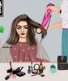 بةلاي منةوة زؤر خؤشة كاتيك خؤت جوان دةكةيت 💄👢👜👚👒 Makeup Drawing, Girly M, Salon Art, Cute Girl Drawing, Cute Cartoon Girl, Baby Clip Art, Girly Drawings, Girl Sketch, Fashion Wall Art