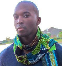 African Print Mix Winter Scarf 009Black by ifenkili on Etsy, $30.00
