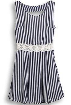 Vertical Stripe Hollow Chiffon Dress in Black and White