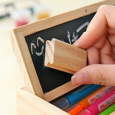 2014 New Fashion Vintage Double Layer With Message Blackboard Wooden Diy Drawer Make Up Cosmetic Pen Pencil Case for School W71