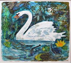 'Swan' by Mark Hearld, which featured in 'The Lumber Room' exhibition at York Art Gallery (mixed media collage)
