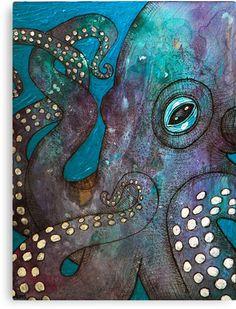 Original Mixed Media Painting Octopus Art by LynnetteShelley Kraken, Octopus Painting, Painting & Drawing, Octopus Artwork, Painting Inspiration, Art Inspo, Street Art, Arte Pop, Ocean Art