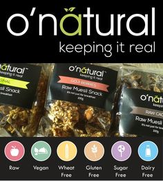 Get the full inside story on keeping it real with o'natural! Raw Food Recipes, Snack Recipes, Snacks, Luxury Chocolate, Wheat Gluten, Keep It Real, Muesli, Raw Vegan, Dairy Free