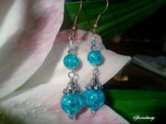 crackle glass beaded earrings | specialtivity - Jewelry on ArtFire