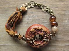Mixed Media Rustic Boho Gypsy Polymer Clay Focal Bead Bracelet with Sari Silk Ribbon, Chain and Agate Gemstone Beads by SpontaneousSoul on Etsy