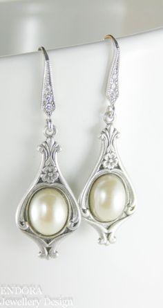 Art nouveau earrings Vintage style earrings by EndoraJewellery