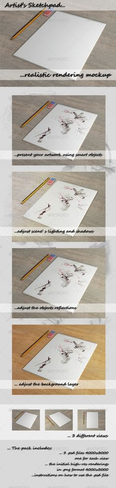 "Sketchpad Rendering Mockup  #GraphicRiver         Present your hand drawn sketches in a simple yet appealing way with just a few clicks! This photorealistic sketchpad mockup gives artists the opportunity to present their first thoughts, conceptual work, or final artwork ""right from their sketchpad"" from 3 different views. The main zip contains 3 high res .psd file (4000×3000 one for each view) organized in groups and layers carefully named to provide easy customization and instructions on…"