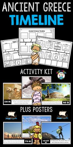 Ancient Greece Timeline and Bulletin Board Kit Greek Crafts, 6th Grade Social Studies, Teaching History, Project Based Learning, Home Schooling, Ancient Civilizations, Ancient Greece, Educational Activities, Reading Comprehension