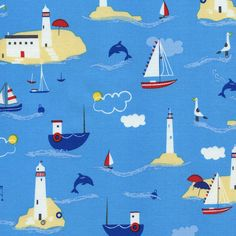Boating Scenic C2411 Water - HEY SAILOR - Timeless Treasures Fabric - 1 yard