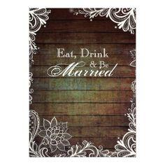 rustic wedding rehersal   barnwood lace rustic wedding rehearsal dinner invitations