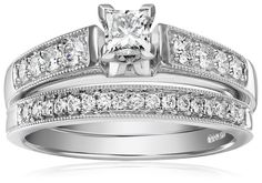 IGI Certified 14k White Gold Diamond Classic Bridal with Millgrain and Princess Cut Center Wedding Ring Set (1 cttw, H-I Color, I1-I2 Clarity) | RIngs-----------  Beautiful, Elegant Diamond Ring for Engagement and Wedding-