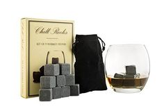 Set of 9 Grey Beverage Chilling Stones [Chill Rocks] Whiskey Stones for Whiskey and other Beverages…