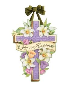 """16.5/""""w x 17.5/""""h Studio M Door Decor Easter Bunnys Here Decorative Front Door Sign with Ribbon Hanger Durable Fade Resistant PVC Made in The USA"""