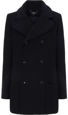 $630, Black Pea Coat: A.P.C. Navy Soho Pea Coat. Sold by Avenue32. Click for more info: https://lookastic.com/women/shop_items/325166/redirect